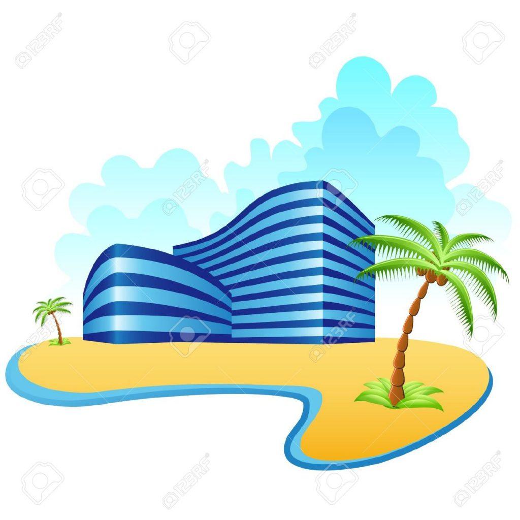 hoteles-y-la-playa-foto-de-archivo-min